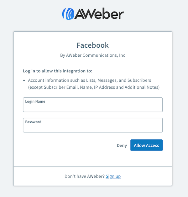 Click Allow Access to authorize the integration with AWeber
