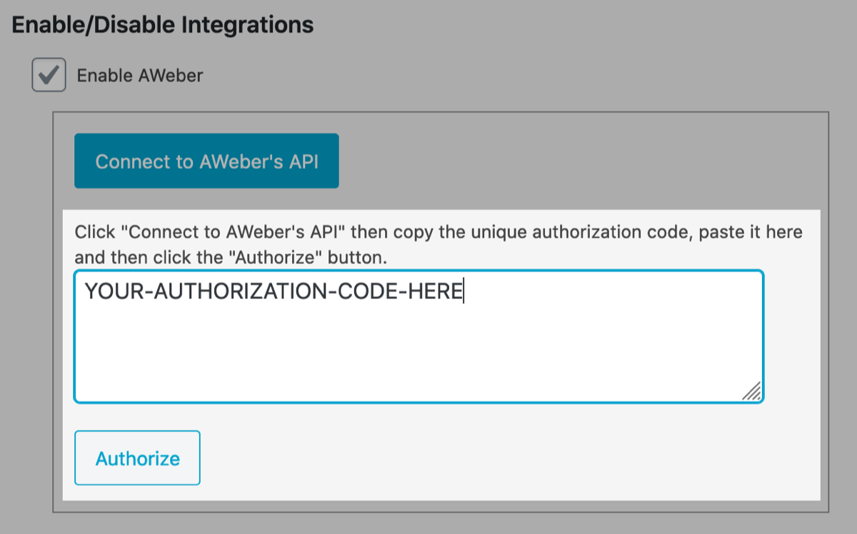 Paste authorization code and Authorize
