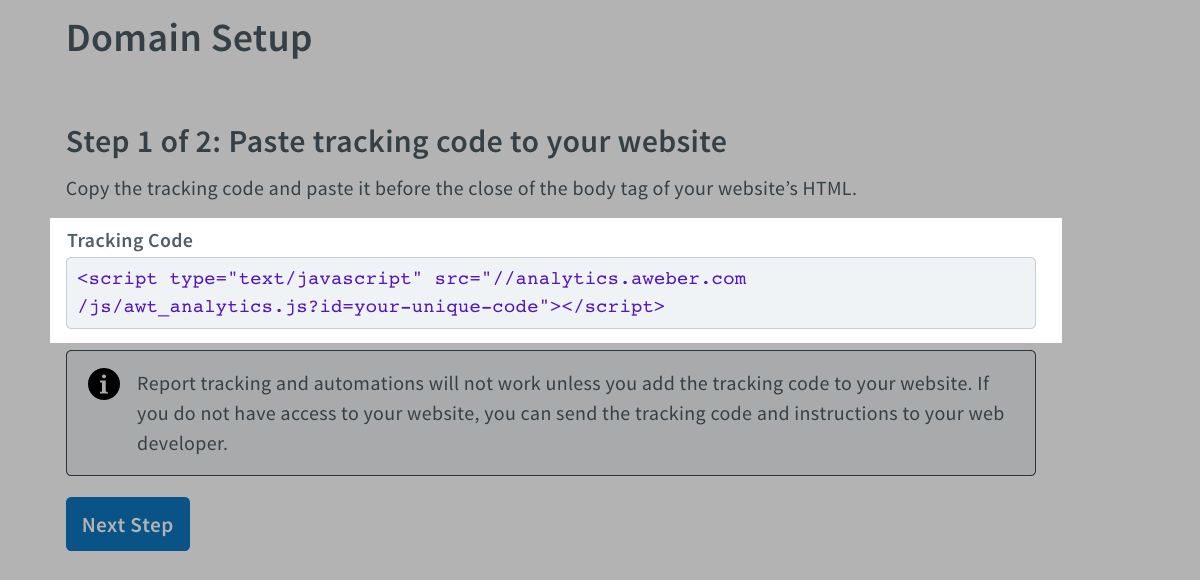 Copy and install your tracking code