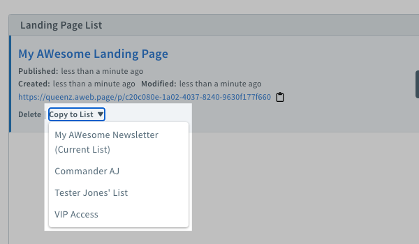 Copy to list for landing page