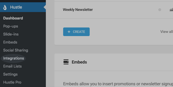 Integrations tab