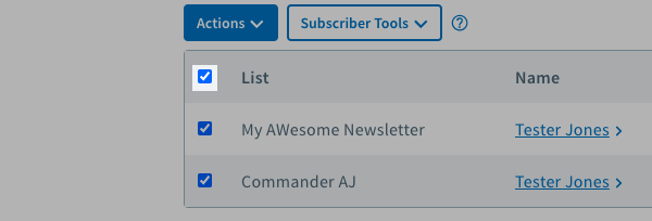 Select all lists checkbox