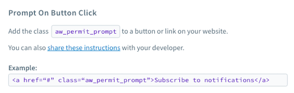Opt-in prompt on button click