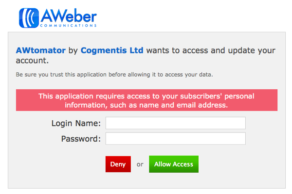 Enter your login details and Allow Access