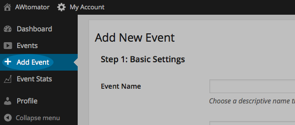 Click Add Event