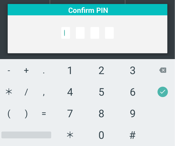 Confirm your pin