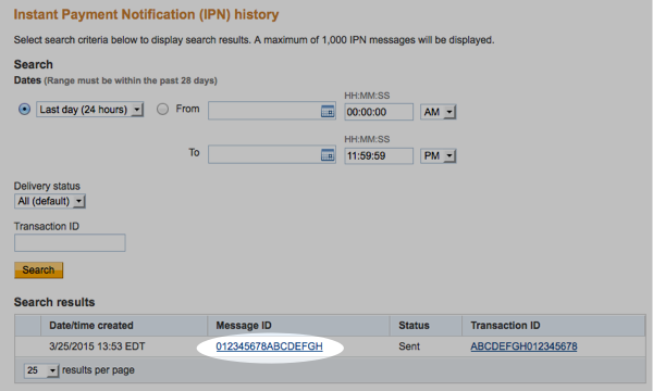 Click on the Message ID to find the IPN message