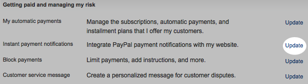 Click Update under Instant payment notifications
