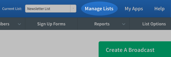 Click Manage Lists