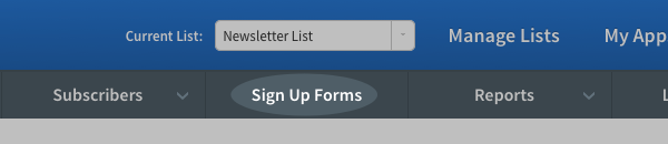 click on sign up forms in selection menu