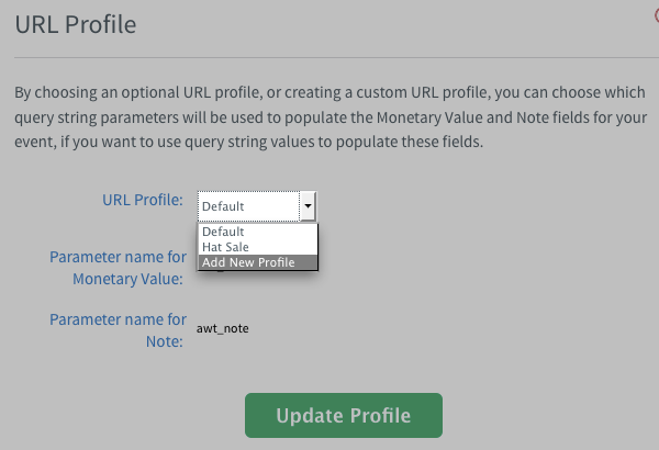 Add New Profile selected in Default drop down menu