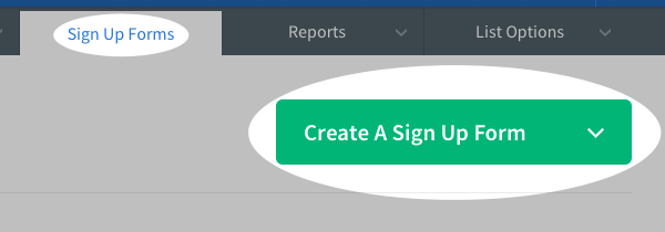 Click to create a sign up form