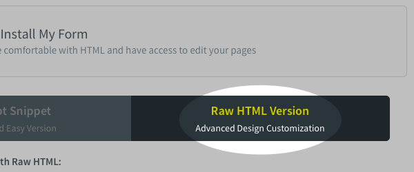 Raw HTML Version button