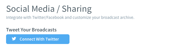Social Media/ Sharing and blue Connect With Twitter button