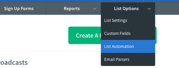 From the List Options tab select List Settings