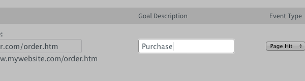 Purchase entered under Goal Description section
