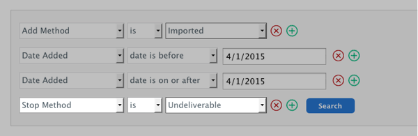 Select Field section populated with Stop Method is Undeliverable
