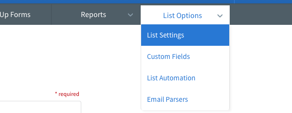 Hover over List Options tab and click List Settings