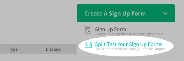 Split Test Form Option
