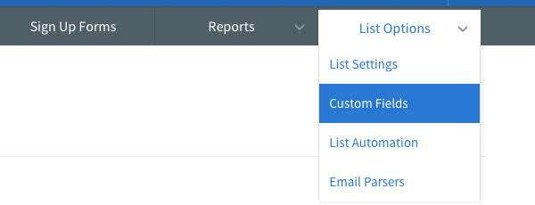 Choose Custom Fields from the List Options menu