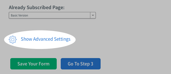 Click Show Advanced Settings
