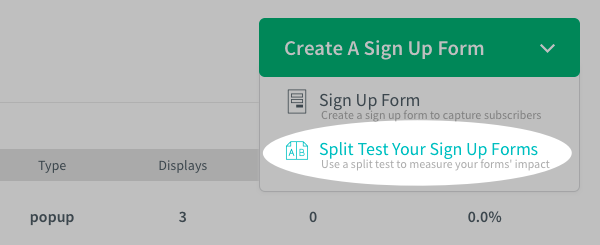 Select split test your sign up forms