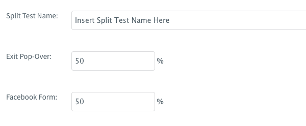 Set split test percentages and save