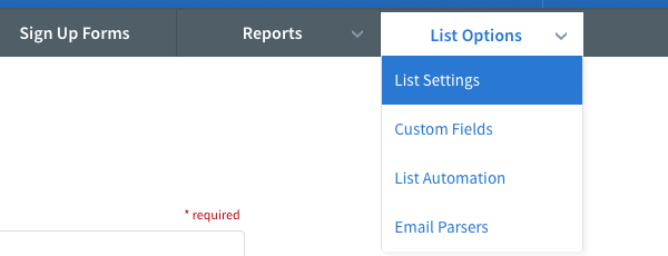 List Settings option selected in List Options drop down menu