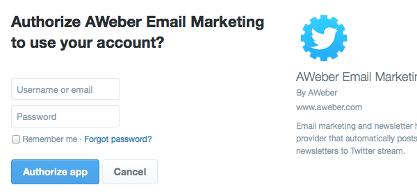 Authorize AWeber Email Marketing to use your account? Twitter page with username and password field