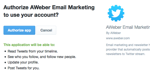 Authorize AWeber Email Marketing to use your account? Twitter page with Authorize App button and Cancel button