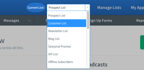 Click the Current List drop down menu