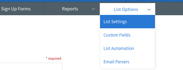 Select List Settings from List Options