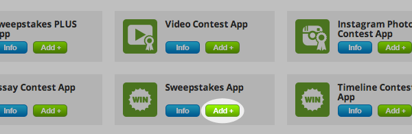 Click Add for the sweepstakes app