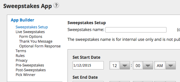 Customize your sweepstakes