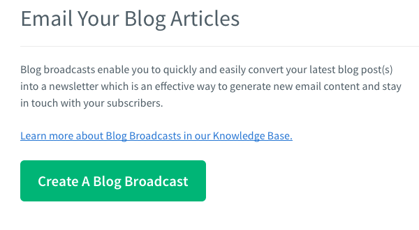 Click Create a Blog Broadcast