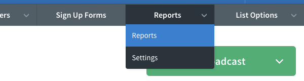 Hover over the Reports tab and click Reports