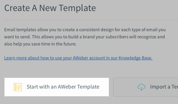 Start With AWeber Template button highlighted
