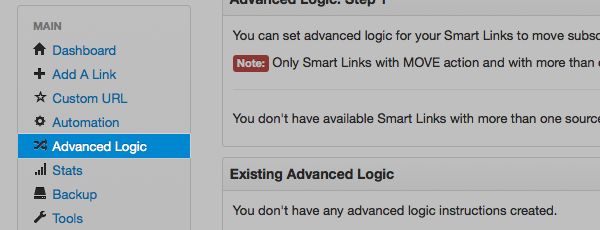 Click on Advanced Logic