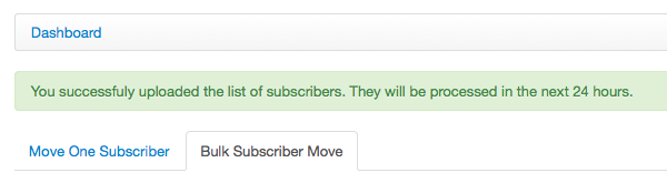 Example of subscriber move