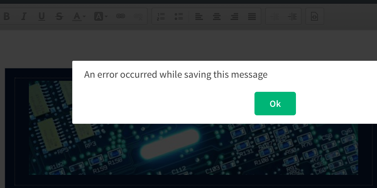 An error occured while saving this message popup window and green Ok button