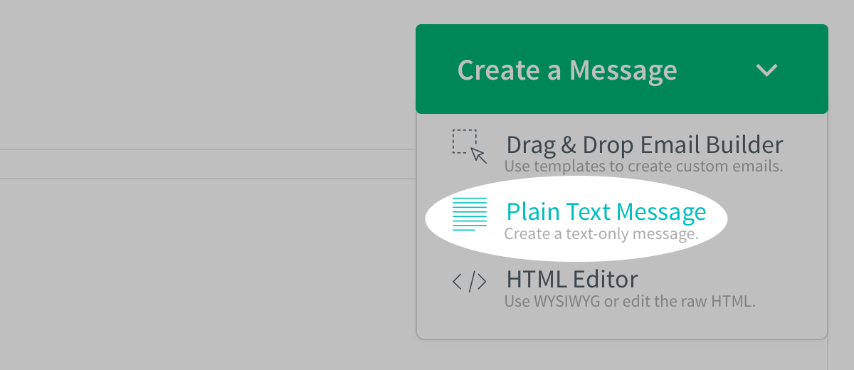 Plain Text Message selected from Create a Message drop down menu