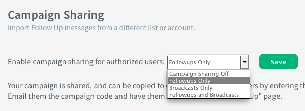 Use a campaign sharing code