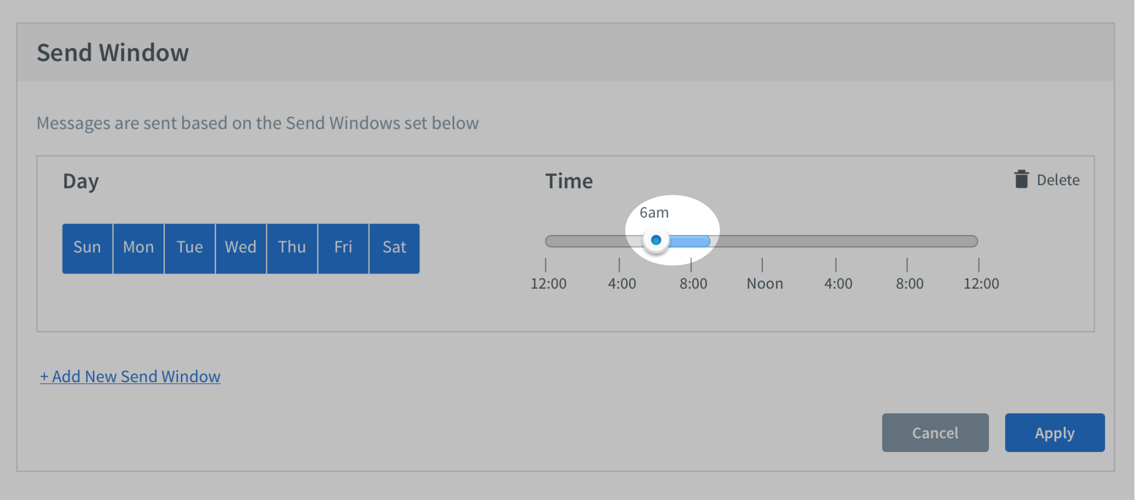 Time selected for Send Window section