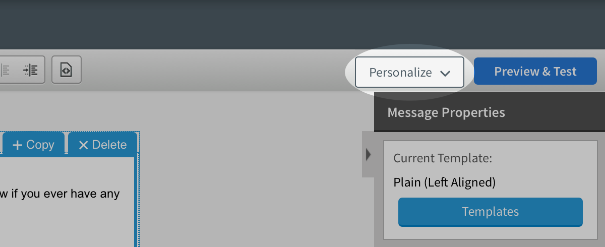 Personalize button highlighted