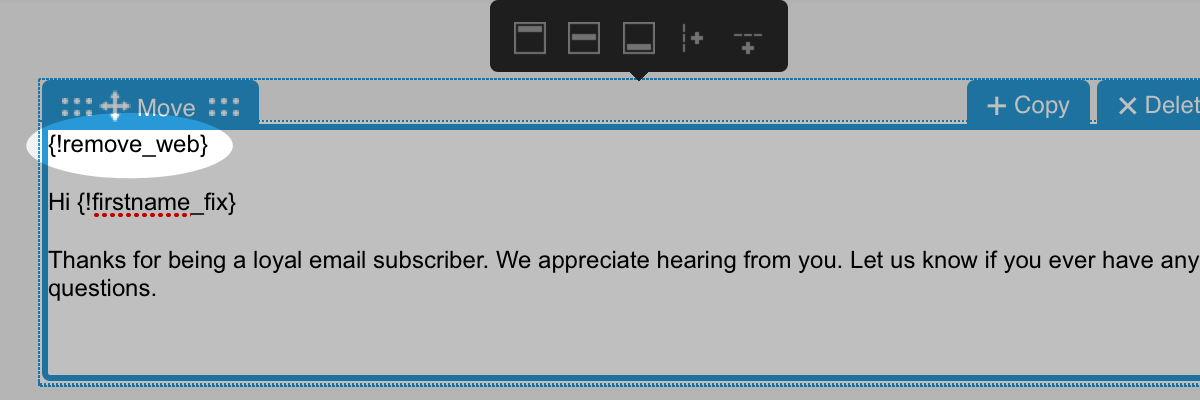 unsubscribe personalization snippet populated in message