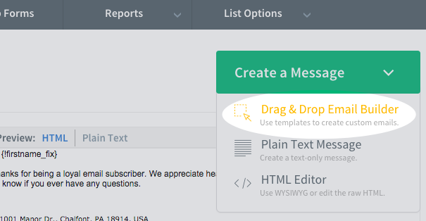Create a message using Drag and Drop