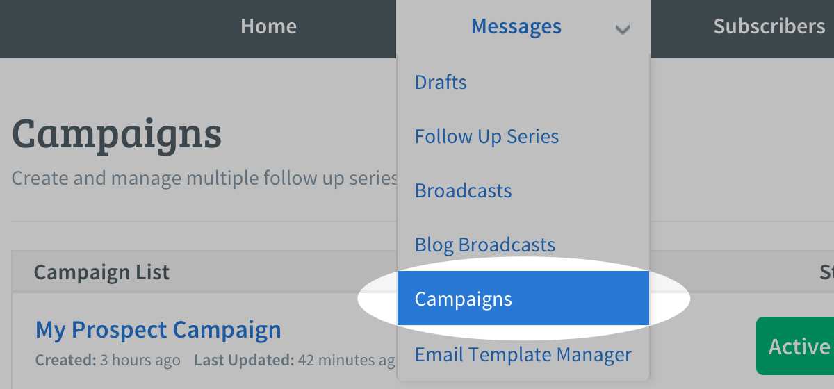 Select Campaigns from the Messages tab