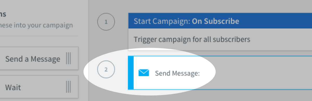 Send Message action in place