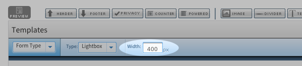 Input box for width