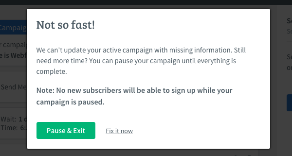 Paused campaign notification